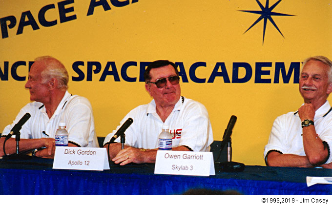 Astronauts Buzz Aldrin, Dick Gordon & Owen Garriott engage the media during a press conferance at the US Space & Rocket Center in 1999 during the 30th anniversary of the first Apollo moon landing.