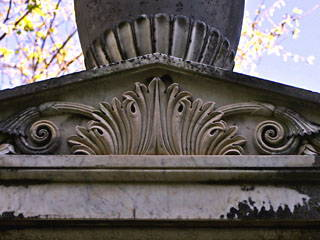This monument in Huntsville's Maple Hill Cemetery reveals a beautiful relief.